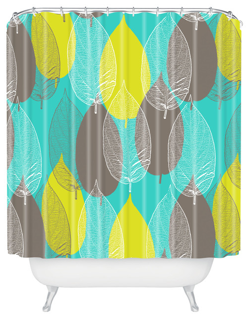 Aimee St Hill Big Leaves Blue Shower Curtain contemporary-shower-curtains