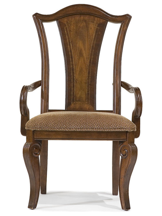 American Traditions Splat Back Arm Chair, Set of 2 - This splat back (yes, that's really a furniture term - wikipedia knows all) upholstered arm chair is a regal addition to the dining table. In casual 18th century American style, this arm chair is constructed of hardwood solids and mahogany veneers accented with maple inlays in a rich cordovan mahogany finish. Color-coordinated neutral upholstery completes the look in comfortable style. An ideal choice for the modern home with traditional styling, this arm chair is sure to please.