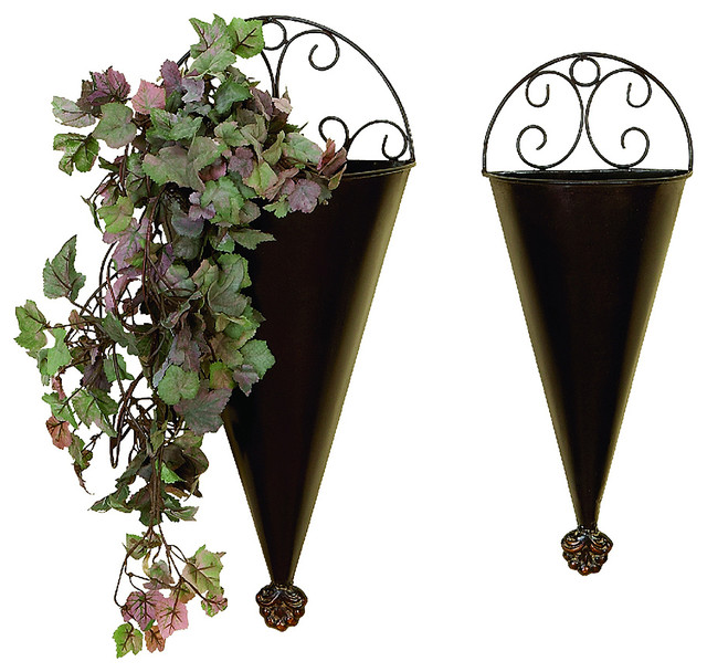 Two Piece Metal Wall Planter Set Contemporary Indoor