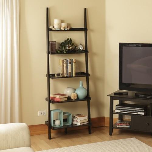 ... Ladder Bookshelf in Black Wood Grain - Modern - Bookcases - by Wayfair