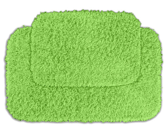 Sands Rug - Quincy Super Shaggy Lime Green Washable Runner Bath Rug (Set of 2) - Jazz up your bathroom, shower room, or spa with a bright note of color while adding comfort you can sink your toes into with the Quincy Super Shaggy bathroom collection. Each piece, whether a bath runner, bath mat or contoured rug, is created from soft, durable, machine-washable nylon. Floor rugs are backed with skid-resistant latex for safety.