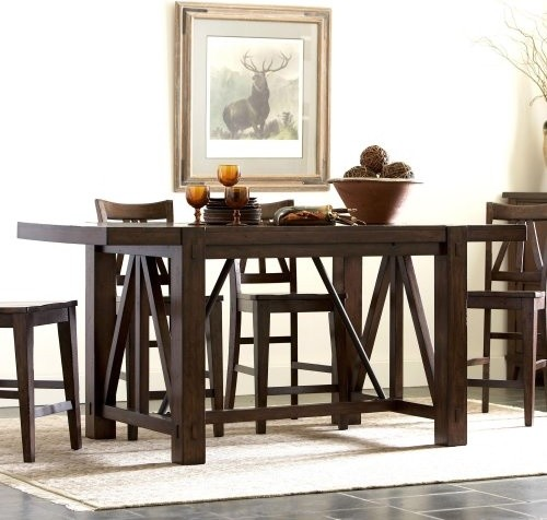Riverside Castlewood Counter Height Trestle Table Contemporary Dining Tab