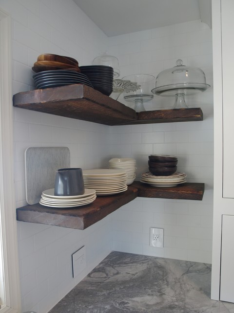 Reclaimed wood floating shelves farmhouse new york Floating shelf ideas for kitchen
