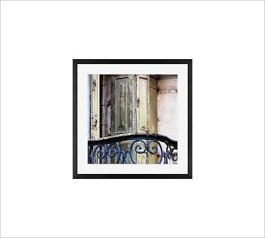 """Rebecca Plotnick Framed Print, Balcony, Mat, 18 x 18"""", Black traditional-artwork"""