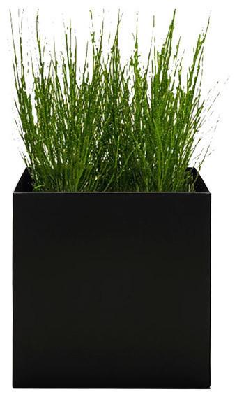 Modern Cube Planter, Black, Small modern-outdoor-planters