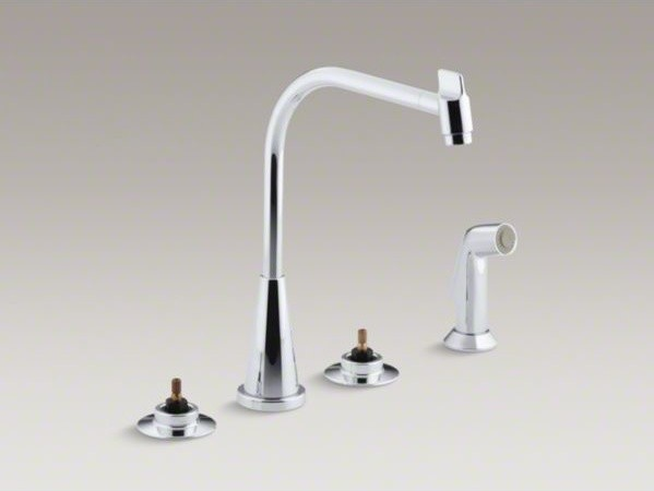 Kitchen Faucets Four Hole Sinks : Kohler triton r hole widespread kitchen sink faucet with quot multi swivel spou contemporary