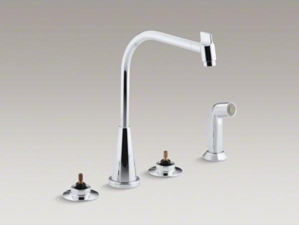 "KOHLER Triton(R) 4-hole widespread kitchen sink faucet with 8"" multi-swivel spou contemporary-kitchen-sinks"