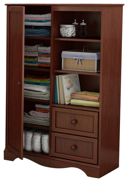 South Shore Savannah Armoire in Royal Cherry transitional-storage-units-and-cabinets