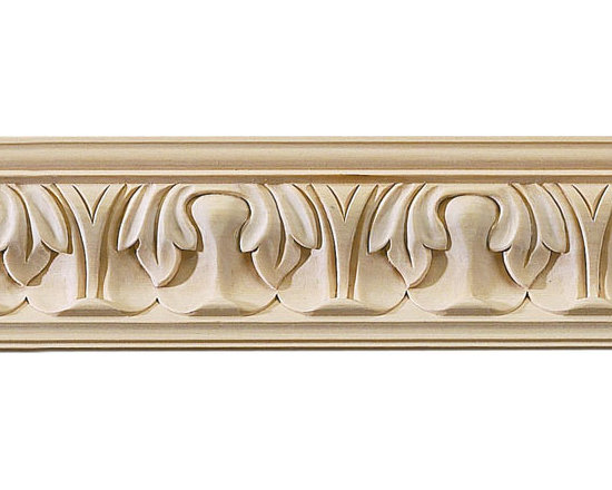 "Inviting Home - Wayland Carved Crown Molding (large) - red oak wood - oak hardwood crown molding 3-9/16""H x 3-3/4""P x 5""F sold in 8 foot length (3 piece minimum required) Hand Carved Wood Molding specification: Outstanding quality molding profile milled from high grade kiln dried American hardwood available in bass hard maple red oak and cherry. High relief ornamental design is hand carved into the molding. Wood molding is sold unfinished and can be easily stained painted or glazed. The installation of the wood molding should be treated the same manner as you would treat any wood molding: all molding should be kept in a clean and dry environment away from excessive moisture. acclimate wooden moldings for 5-7 days. when installing wood moldings it is recommended to nail molding securely to studs; pre-drill when necessary and glue all mitered corners for maximum support."