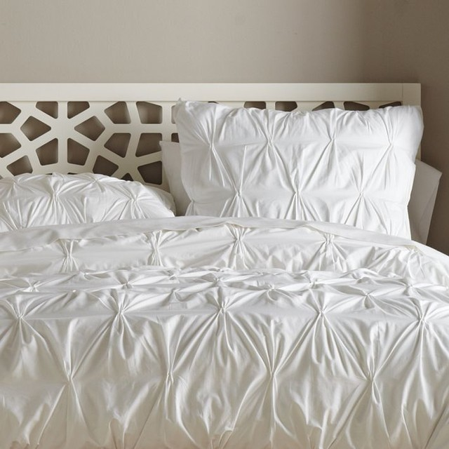 Organic Cotton Pintucked Duvet Cover, White contemporary duvet covers