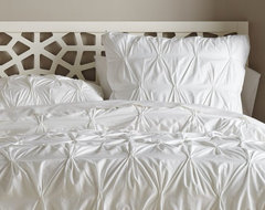 Organic Cotton Pintucked Duvet Cover, White contemporary-duvet-covers-and-duvet-sets
