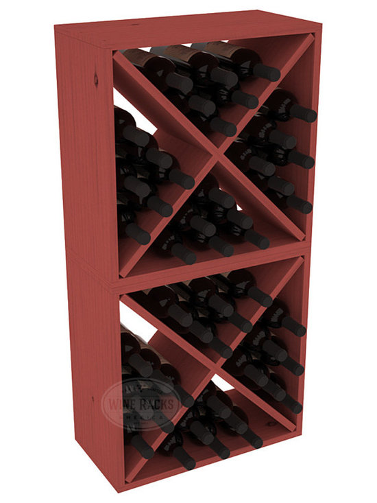 "Wine Racks America - 48 Bottle Wine Cube Collection in Ponderosa Pine, Cherry Stain - Two versatile 24 bottle wine cubes. Perfect for nooks, crannies, and converting that ""underneath"" space into wine storage. Mix and match finishes for a modern wine rack twist. Popular for its quick and easy assembly, this wine rack kit is a perfect storage solution for beginners and experts."