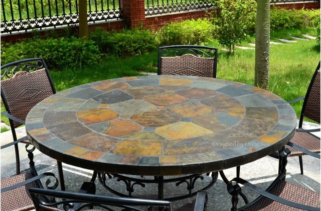 """OCEANE 49"""" & 63"""" MOSAIC SLATE STONE GARDEN PATIO TABLE craftsman-outdoor-dining-tables"""