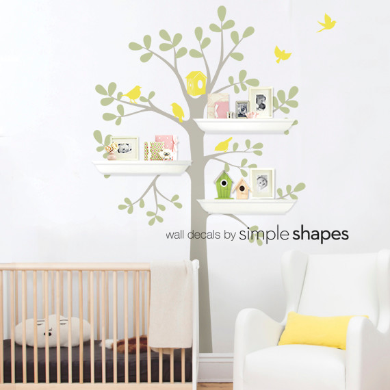 Wall Decals Simple Shapes : Tree Wall Decal   Shelving Tree Decal With  Birds   Three Pictures