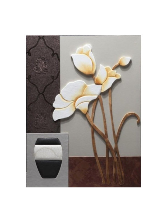'Soft & Homely' Leather Art - 'Soft & Homely' White Flowers with Vase Leather Art by Nova Deko.