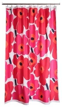 Marimekko Unikko Red Cotton Shower Curtain contemporary-shower-curtains