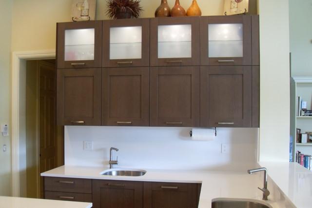 Dove Oak Cabinets White Quartz Counters modern