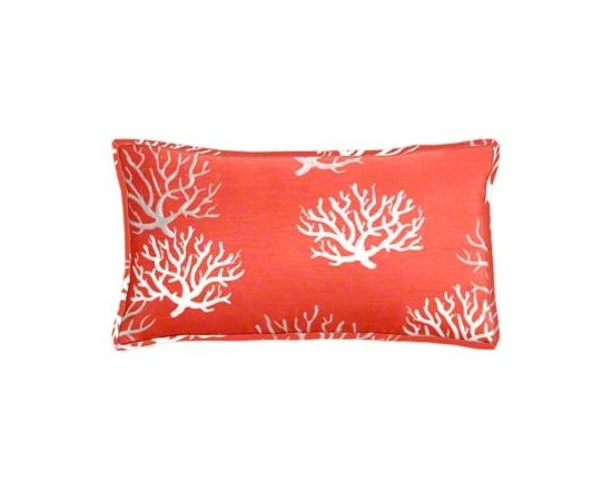 "Cushion Source - Salmon Coral Lumbar Pillow - The 20"" x 12"" Salmon Coral Lumbar Pillow features slubbed cotton duck fabric with a coral print in natural and gray on a salmon background."