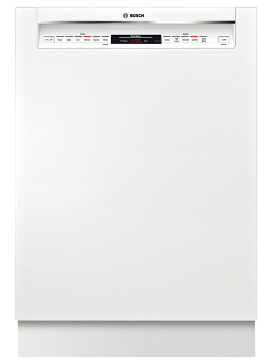 """Bosch 24"""" Recessed Handle 800 Series Dishwasher, White 