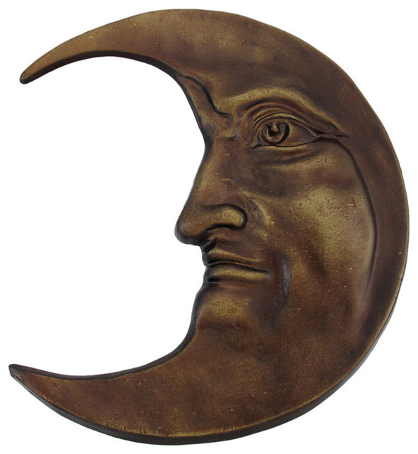 Antique Bronze Finished Cast Iron Crescent Moon Face Wall Hanging - Contemporary - Home Decor ...