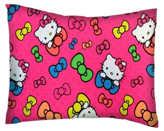 SheetWorld - SheetWorld Twin Pillow Case - Percale Pillow Case - Hello Kitty Bows-Made in USA - Pillow case is made of a durable all cotton percale/woven material. Fits a standard twin size pillow. Side Opening. Features a hello kitty bows print.