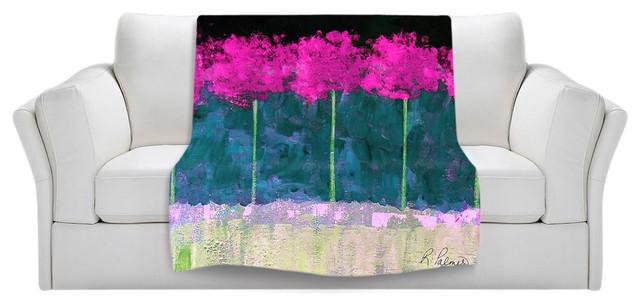 Throw Blanket Fleece - Fuschia Trees contemporary-throws