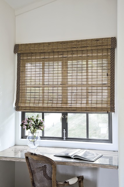 Smith and Noble Natural Woven Flat Fold Shades traditional-window-treatments