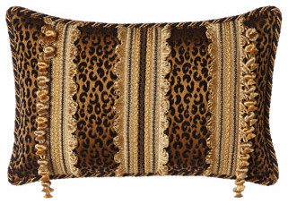 """Sweet Dreams Black & Gold Animal Pillow, 13"""" x 20"""" traditional-decorative-pillows"""