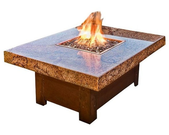 "COOKE - Balboa Fire Pit Table , 36x48 - This fire pit table is 48""x36""x22""H or 48x48x22""H with a 18""x18"" fire pit, the base is made from 304 Stainless steel which can be powder coated in many different colors or copper plated with real copper that with naturally patina over time(shown). The top is made from 1.25"" thick granite with mitered edges giving it a 4"" thick edge. The granite shown is Copper Canyon which is a beautiful exotic stone."