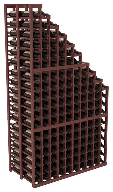 Double Deep Wine Cellar Waterfall Display Kit in Redwood with Cherry Stain + Sat contemporary-wine-racks