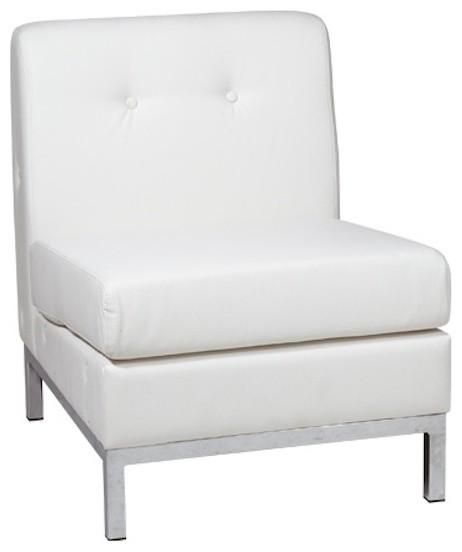 Avenue Six Wall Street Armless Chair, White modern-chairs