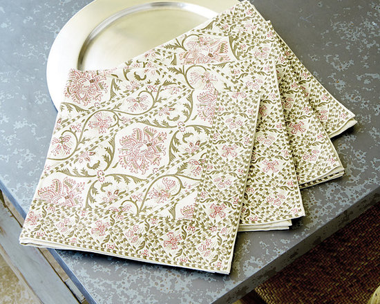 Ballard Designs - Set of 4 Adair Napkins - Coordinates with our Adair Table Runner & Tablecloth. Machine washable. The faded pink and taupe floral pattern of our Adair Table Linen Collection are printed on soft 100% cotton for a fresh, end-of-summer look.Adair Table Linen Collection features: . .