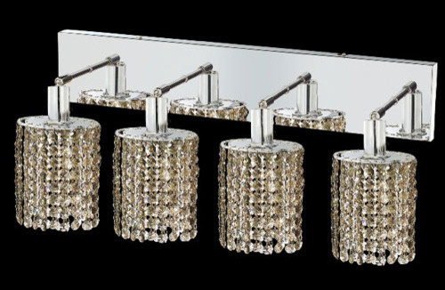 Mini Ellipse Chrome Four-Light Bath Fixture with Royal Cut Golden Teak Smoky Cry contemporary-bathroom-vanity-lighting