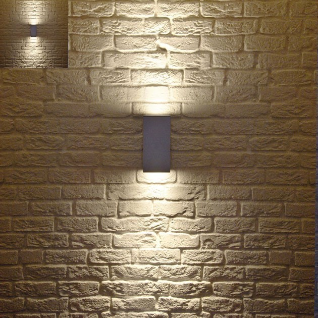 Big theo up down outdoor wall light modern outdoor for Contemporary wall light fixtures