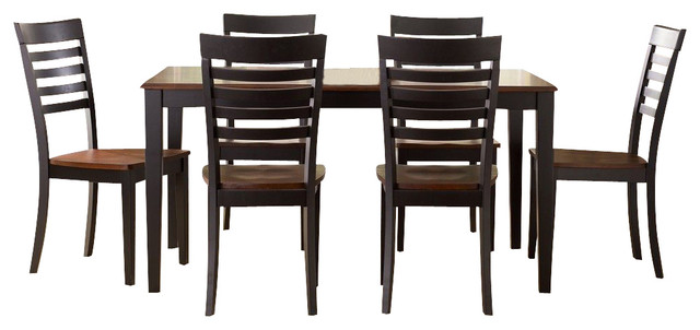 Liberty furniture cafe collections black cherry 7 piece for Traditional black dining room sets