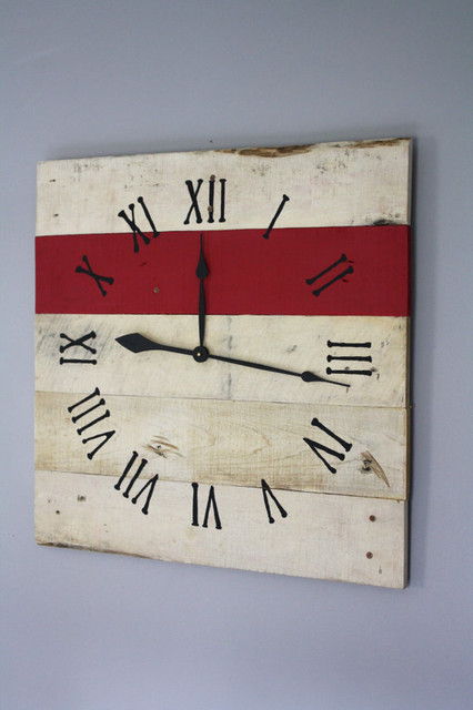 "Large Pallet Wood Wall Clock (26"" x 26"") contemporary-clocks"