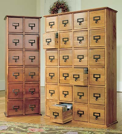 Retro-Style Wooden Multimedia Library File Cabinets - Traditional - Filing Cabinets - by Plow ...