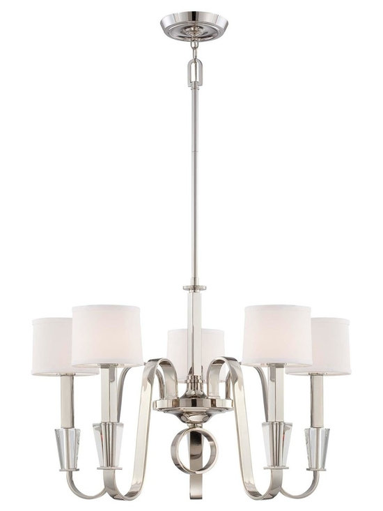 "Quoizel Uptown Park Avenue Penthouse 5-Light Chandelier - The Park Avenue Penthouse collection brings back memories of traditional luminaires. White linen fabric shades with diffusers provide perfect lighting and it is more transitional with the contemporary touches of imperial silver and optic glass. Dimensions: 20"" High, 29"" in Diameter."