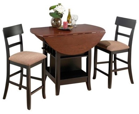 Jofran Counter Height Double Leaf Table and 2 Chairs - Brunette & Cherry traditional dining tables