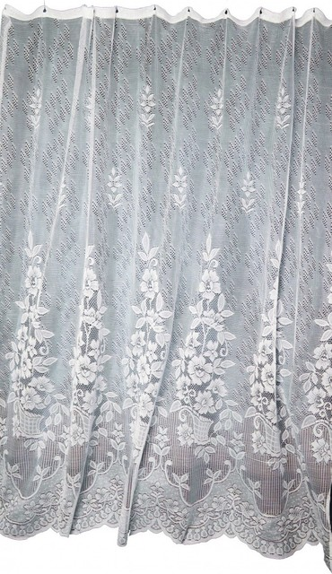 lace shower curtain victorian floral ecru polyester 72 x 72