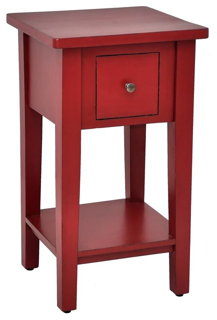 Square Side Table In Bali Red Finish Contemporary