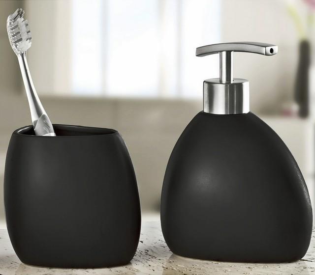 Modern Black Stoneware Bathroom Accessories Set 2 Pieces