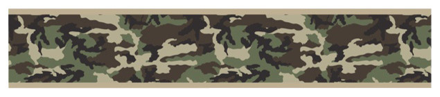 "Green Camouflage Wall Paper Border (15' x 6"") contemporary-wallpaper"