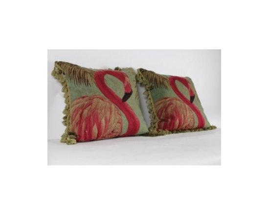 Flamingo Aubusson Wool Pillow -