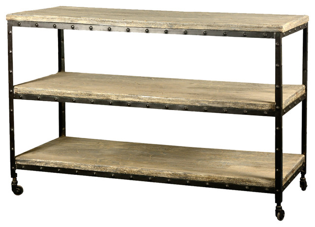 """Industrial Reclaimed Wood & Iron 50"""" Long 3-Tier Rolling"""