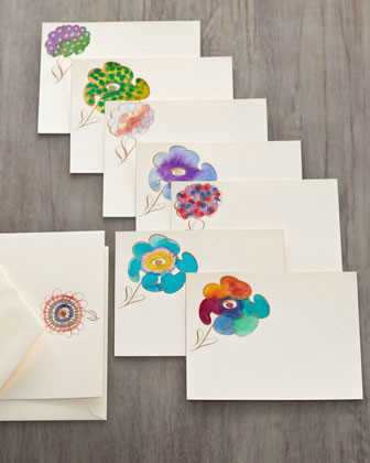 Bernard Maisner Set of Eight Assorted Watercolor Notes with Envelopes traditional-desk-accessories