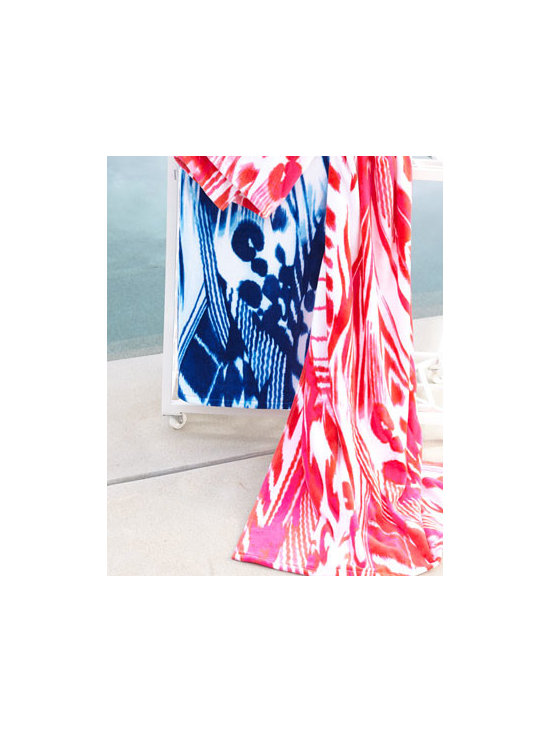 "Natori - Natori ""Agila"" Beach Towel - The perfect balance of comfort, quality, and durability for the beach, pool, and beyond, this beach towel offers a fun abstract pattern in your choice of warm pink or cool blue. Select color when ordering. Made of cotton. Machine wash. 40"" x 70"" Imp..."