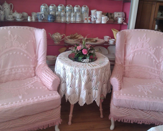 pair wingback chairs slipcovered in pink vintage chenille bedspread fabrics - i slipcovered this pair of wingbacks using vintage chenille bedspreads including the rarest satin chenille bedspread fabrics in pinks . so pretty