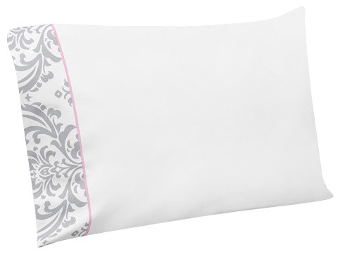 Elizabeth Pink and Gray Damask 3-Piece Twin Sheet Set by Sweet Jojo Designs traditional-kids-bedding