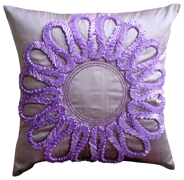 Purple Silk Throw Pillows : Blossom Purple Silk Throw Pillow Cover, 20x20 - Traditional - Decorative Pillows - by The ...